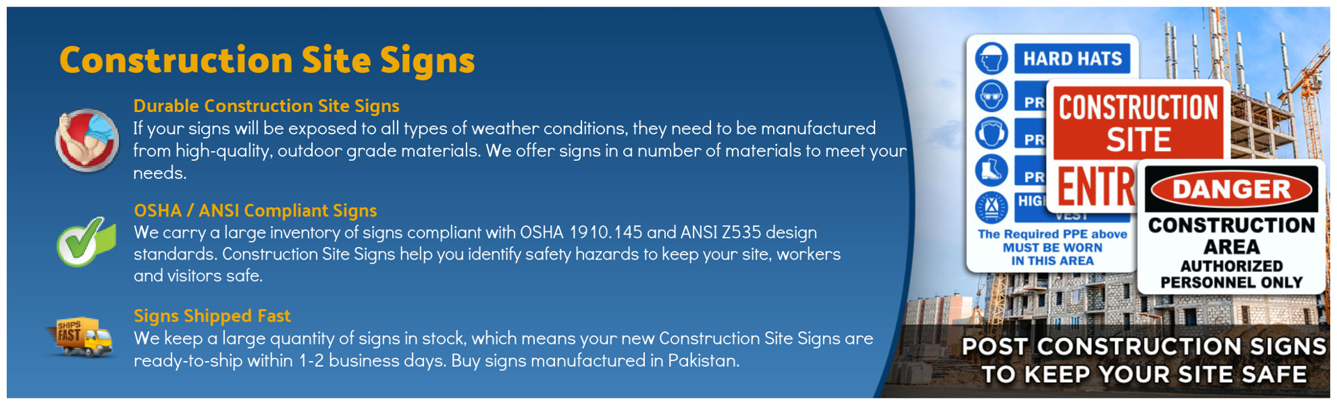 Construction Site Safety Signs Banner