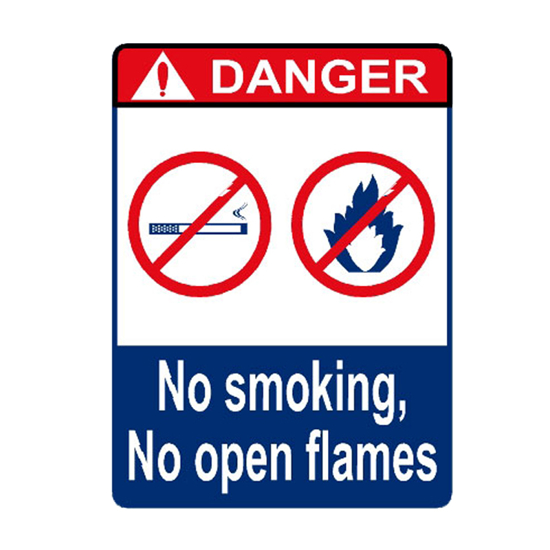 Picture of Danger No Smoking No Open Flames Sign