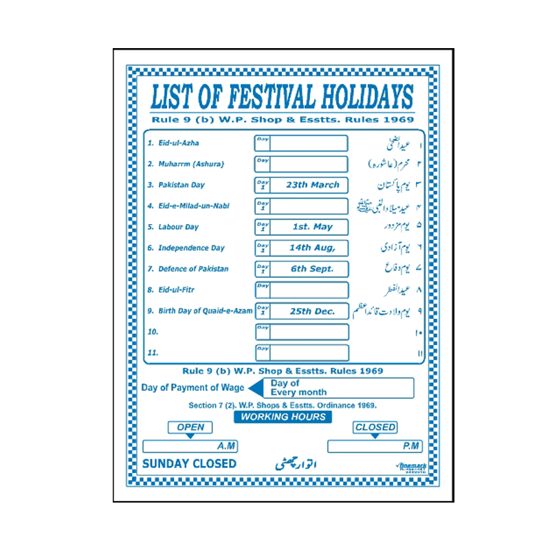 Picture of List Of Festival Holidays Sign