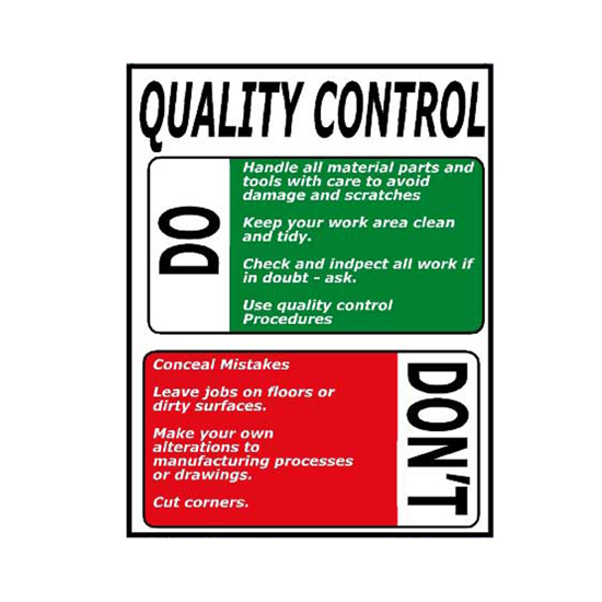 Picture of Quality Control Do And Don'ts Sign