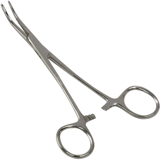 Picture of Kelly Locking Tweezers Silver Curved Forceps