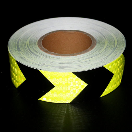 Picture of PVC Arrow Safety Reflective Warning Tape, Fluorescence Yellow/Black