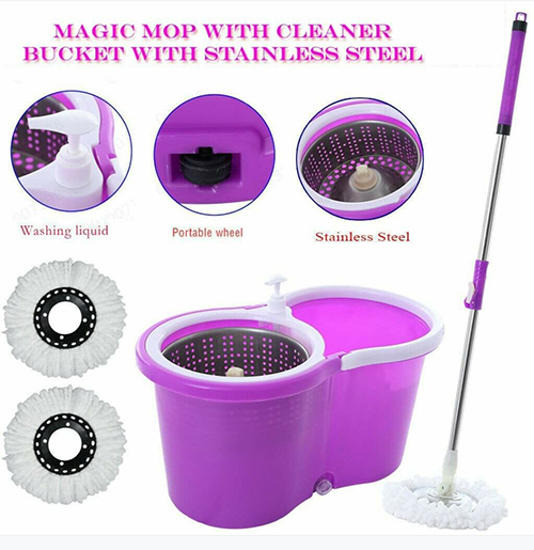 Picture of M-016- Purple Spin Mop Bucket With Wheels